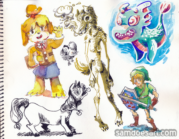 Animal Crossing/Legend of Zelda are owned by Nintendo - this is just some doodles done for fun.